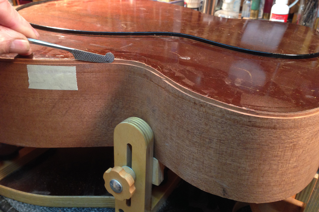 replace side on martin guitar, guitar repair, action adjustment, martin service center, kline music,