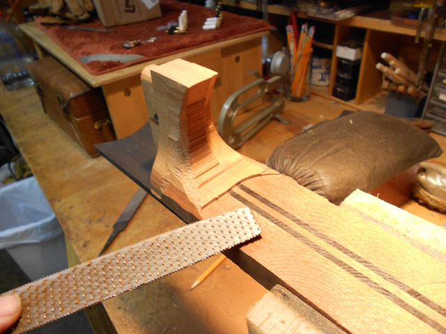 shaping the heel, arnie gamble, guitar maker, making the neck, guitar repair, sacramento, California,  Kline music, authorized martin service center, C. F. Martin repair,
