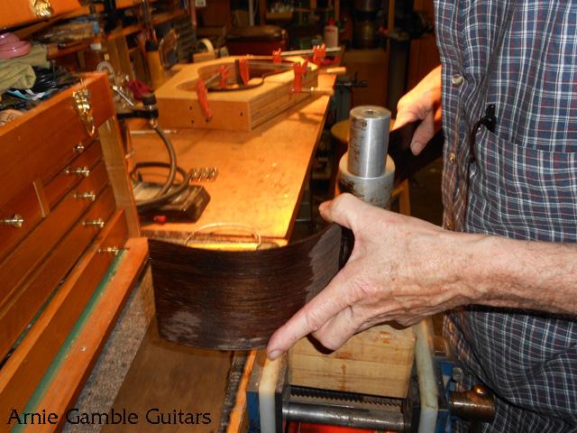 arnie gamble, guitar maker, bending the sides, guitar repair, sacramento, california,  kline music, authorized martin service center, C. F. Martin repair,