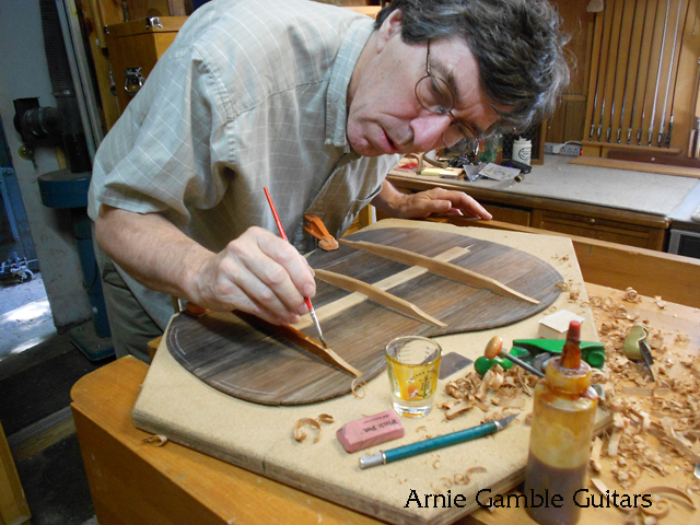 Varnishing the back braces, arnie gamble, guitar maker, bending the sides, guitar repair, sacramento, california,  kline music, authorized martin service center, C. F. Martin repair,
