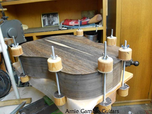 Fitting the braces to the kerfing, arnie gamble, guitar maker, bending the sides, guitar repair, sacramento, california,  kline music, authorized martin service center, C. F. Martin repair,
