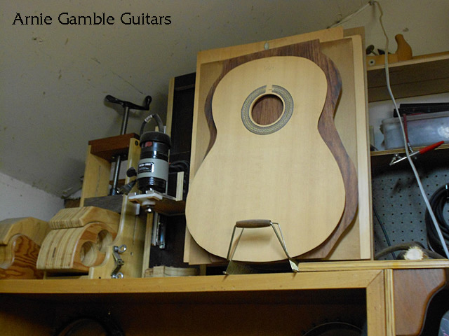Top of the guitar with the rosette installed.
