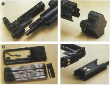 Parts of the AEG conversion shown in detail, includign the battery connection and the front and back end.