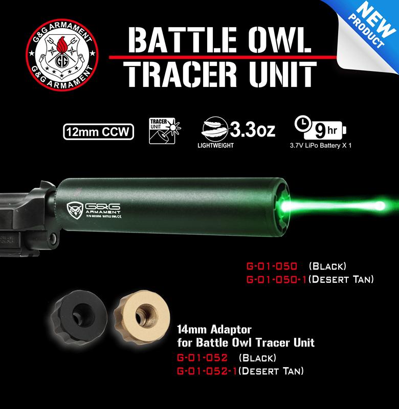 14mm Adaptor for Battle Owl Tracer Unit Black G/&G