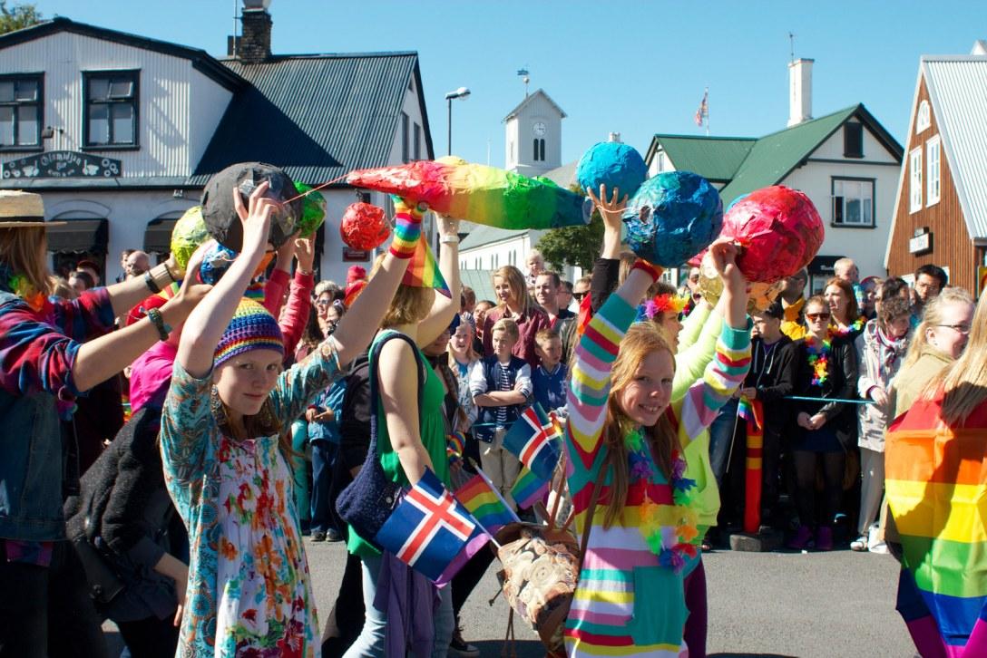 Það var gaman að ganga með krökkunum í ÆSKÞ í gleðigöngunni á laugardaginn.