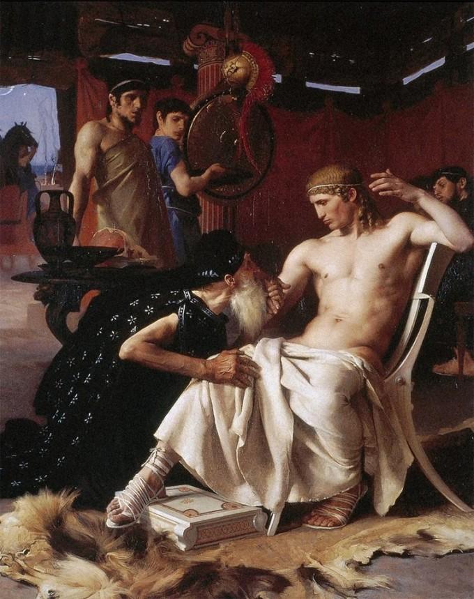 Príamo aos pés de Aquiles - Joseph Wencker (1876)