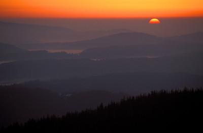 Sonnenaufgang am Lusen, Bayrischer Wald, Deutschland