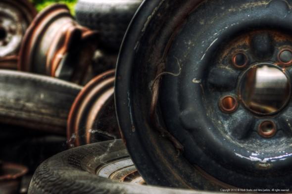 Wheels in junkyard