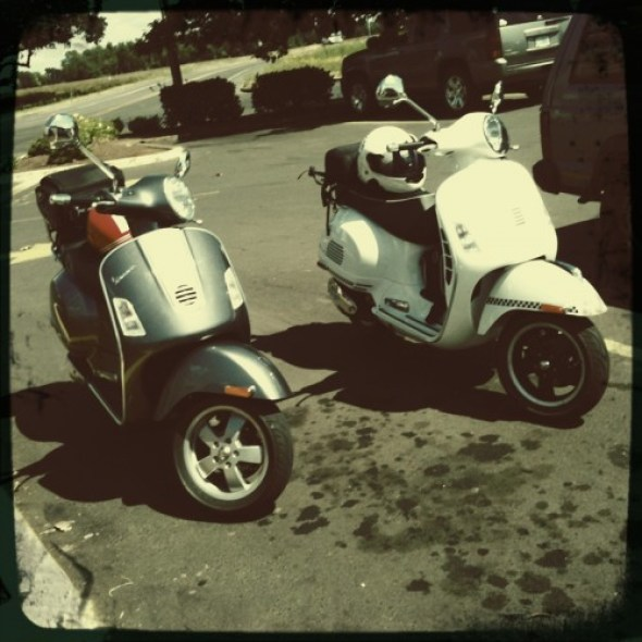 Vespa's packed up and ready to roll