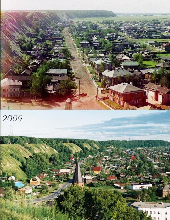 Jedna z ulic Tobolska. Wtedy i dziś.