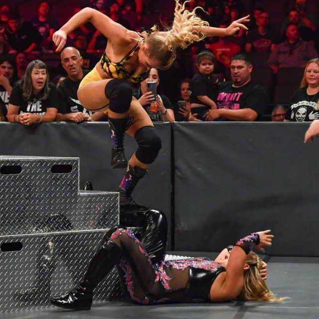 Lacey Evans stamps on Natalya's leg on the steps