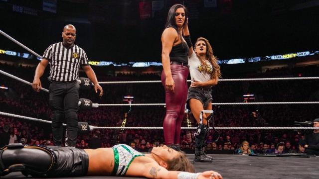 Raquel Gonzales and Dakota Kai stad victorious over Tegan Nox