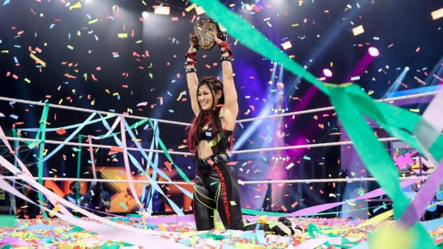 Io Shirai celebrates her win