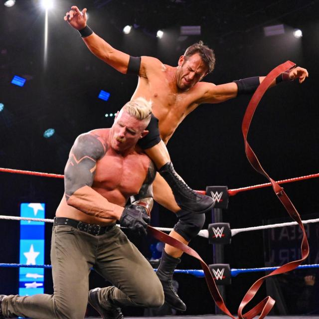 Roderick Strong knees Dexter Lumis in the head