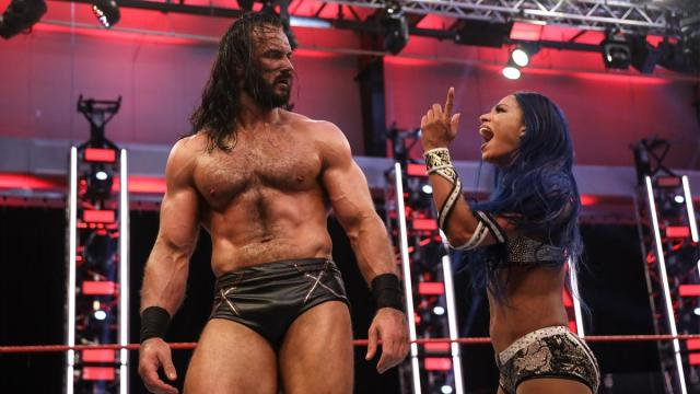 Sasha Banks yells at Drew McIntyre