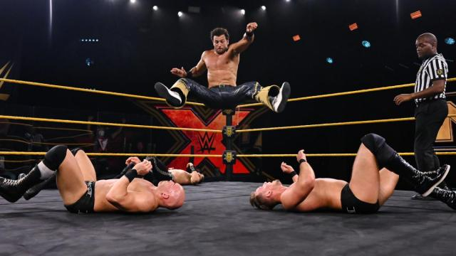 Fandango delivers the double leg drop to give Breezango their first title win