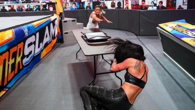 Mandy Rose throws chairs at Sonya Deville