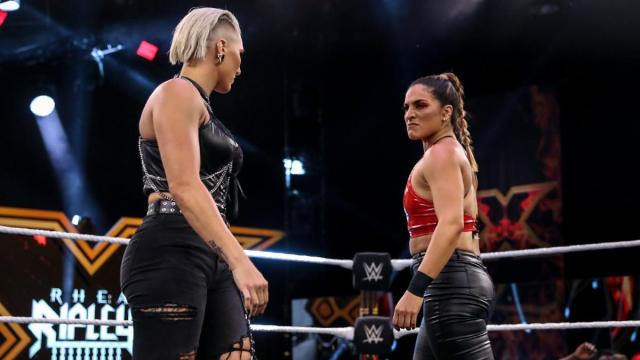 Rhea Ripley and Raquel Gonzalez stare each other down
