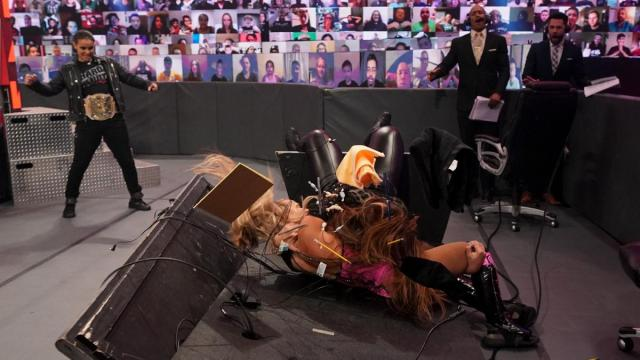 Nia Jax puts Lana through the announce desk