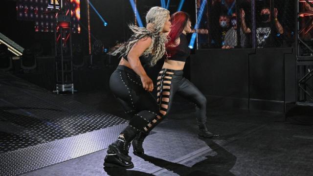 Io Shirai and Toni Storm brawl