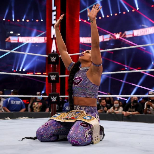 Bianca Belair celebrates her WrestleMania win