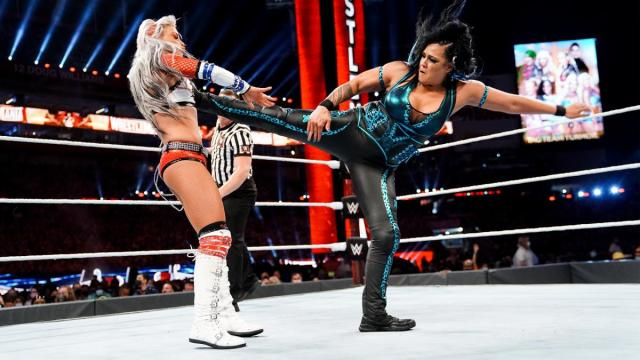 Tamina kicks Liv Morgan in the WrestleMania tag team turmoil