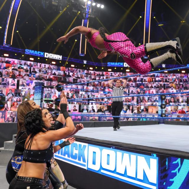 Bianca Belair flies onto Nia Jax, Shayna Baszler, and Bayley