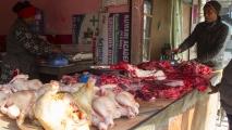 Vlees verkoop op straat (buffel/bizon vlees)