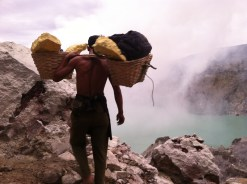 As he carries 150lbs of sulfur up the crater