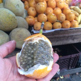 Many varieties of exotic tropical fruits are for sale.