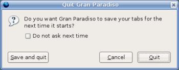 Guardar Tabs al cerrar Gran Paradiso
