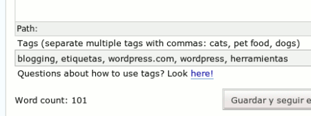 Sistema de etiquetas en WordPress