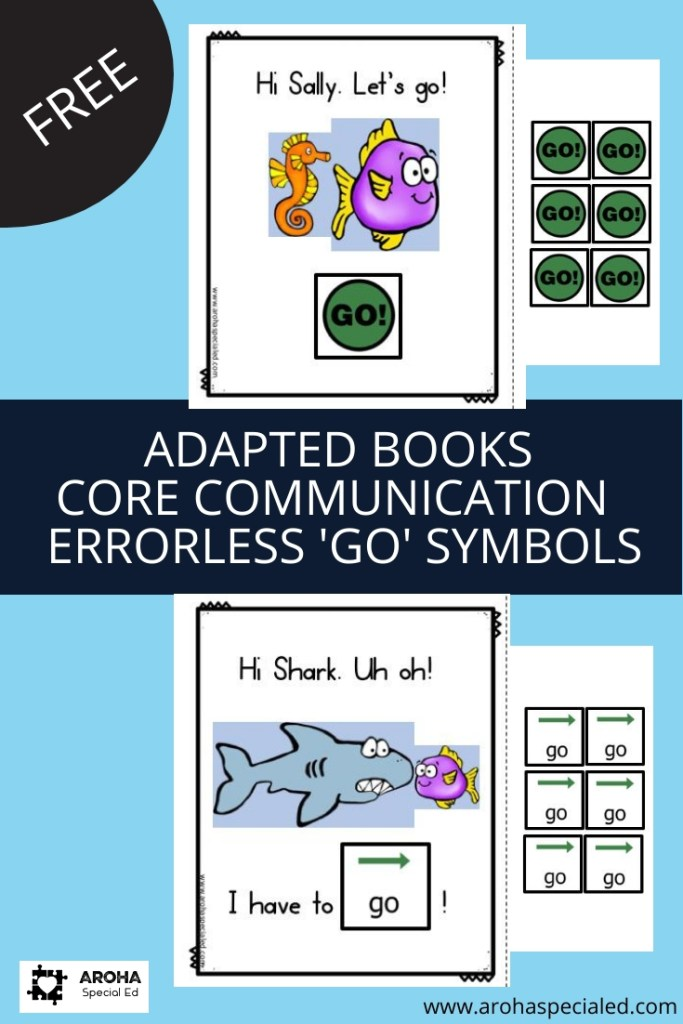 Adapted Core Books core communication errorless 'Go' symbols