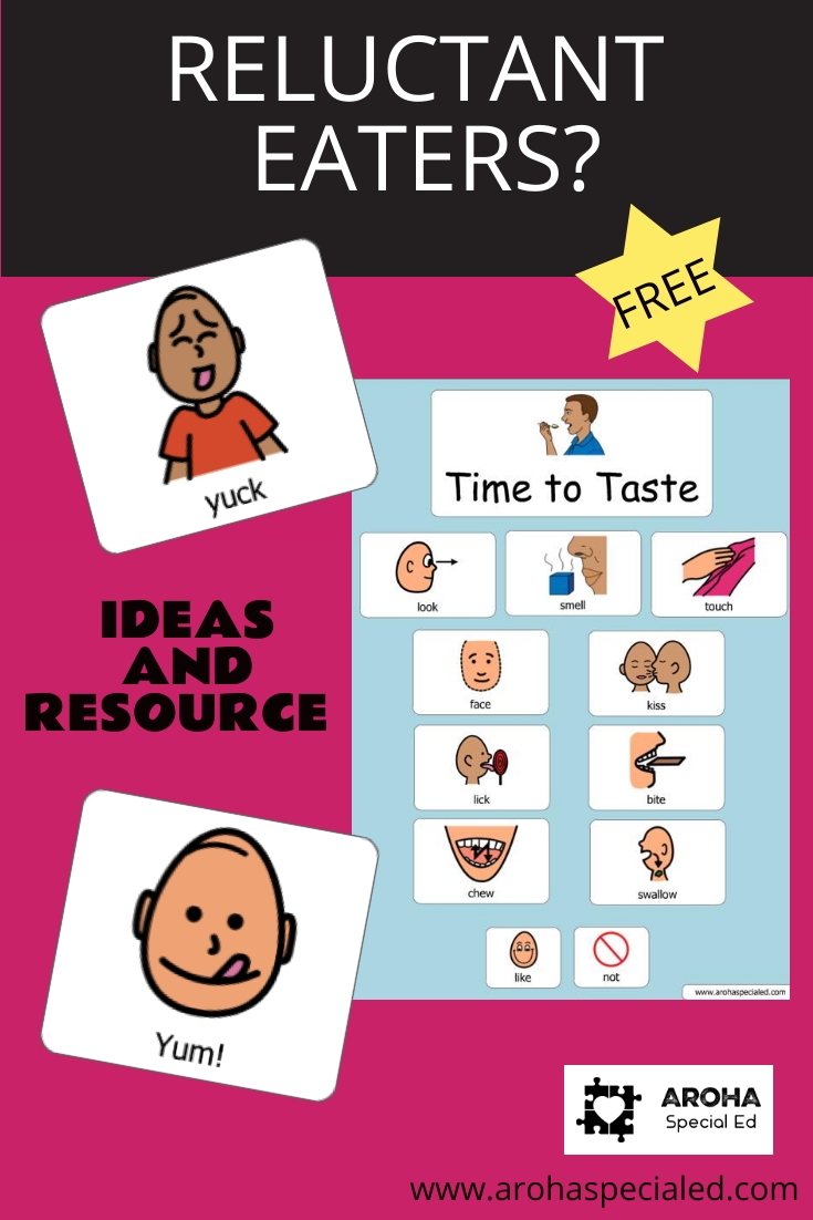 A free symbol resource to teach reluctant eaters, fussy eaters, those with restrictive diets.