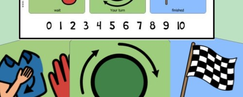 Picture symbols of wait, your turn and finished. Picture of a visual strip with the same symbols and numbers 0 to 10.