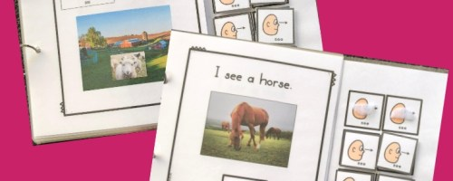 Picture of the cover of an interactive core word book called I see farm. Photo of a sheep and symbols for 'see'. Second page showing a picture of a horse and the core symbols along with a sentence I see a horse.