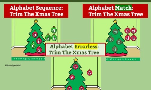 Picture advertising the BOOM Alphabet Xmas Bundle of three decks 1. Errorless 2. Match 3. Sequence. Three trees with baubles next to them