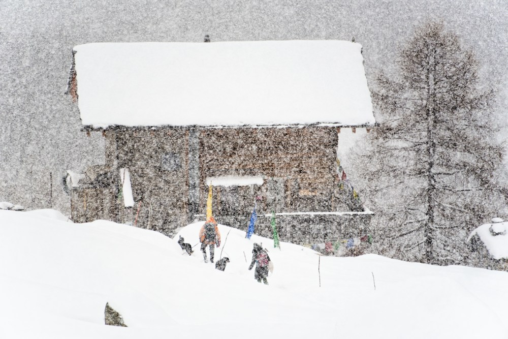 coming home during a snow storm