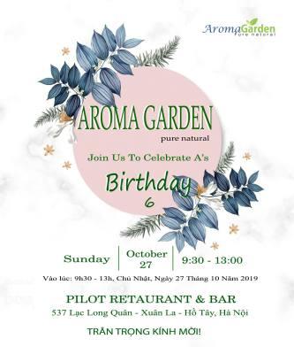 thư mời sinh nhật aroma garden 6 tuổi