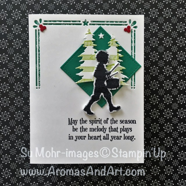 By Su Mohr for FF126; Featuring: Musical Instruments, Musical Season, Merry Music, Card Front Builder Dies, Sheet Music, Stampin' Up! ; For more details click visit to go to my blog! #musicalseason #christmascards #stampinup #musicalinstruments #merrymistletoe