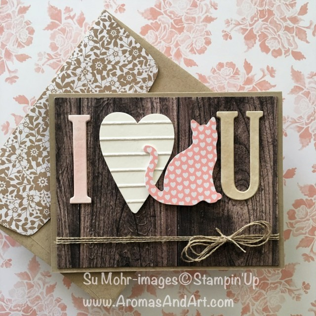 By Su Mohr; Click visit to go to my blog for the details! Featuring: Large Letters Dies, Lots to Love Dies, Simple Stripes embossing folder, Wood Textures paper, Pinewood Planks embossing folder, Stampin' Blends; #babysfirstvalentine #iloveyouvalentine #largeletters #woodtextures #catpunch
