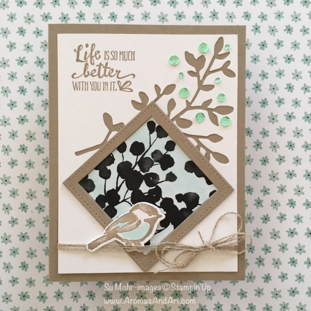 By Su Mohr for Pals Blog Hop; Click on visit to go to my blog for details! Featuring: Petal Palette, Petal Passion DSP, Iridescent Sequins, Stitched Shape Dies; #birthdaycards #spring #petalpalette #petalpassion #petalsandmore #stampinup