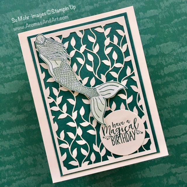 """By Su Mohr for PP389; Click """"read it"""" to go to my blog for details; Featuring: Magical Mermaid, Delightfully Detauiled Laser-Cut Specialty Paper, Tranquil Textures, layering Circle Dies; #magicalmermaid #birthdaycards #juvenile #lasercutpaper #stampinup"""