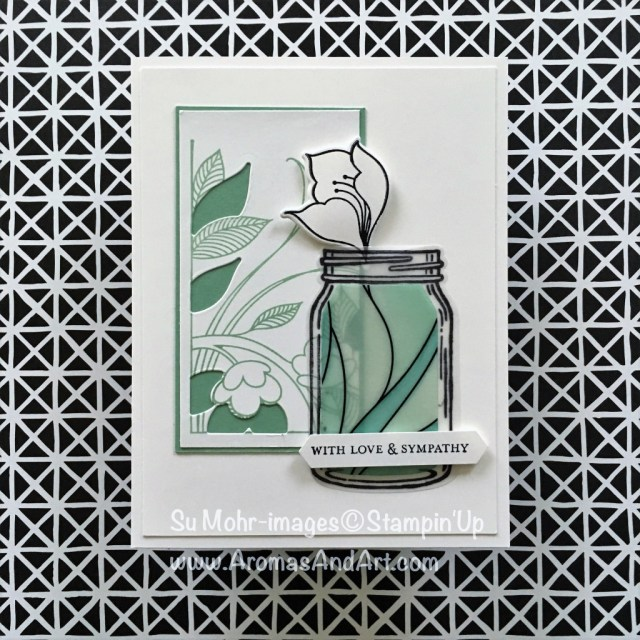 By Su Mohr for PP395; Click READ to go to my blog for details! Featuring: Serene Garden, Jar of Love, Graceful Glass DSP, Itty Bitty Greetings, Stampin' Blends; #memorialday #sympathycards #jaroflove #stainedglass #serenegarden #gracefulglassvellum