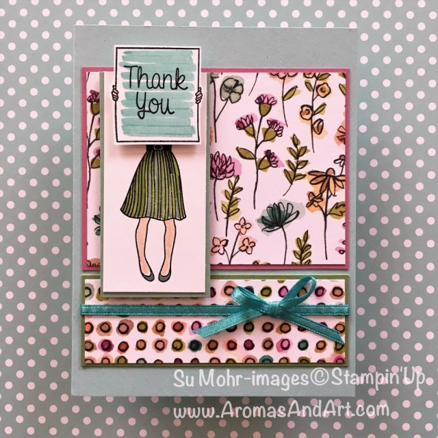 By Su Mohr for cts271; Click read to go to my blog for details; Featuring: Hand Delivered Host Stamp Set, Stampin' Writes, Share What You Love Designer Paper; #thankyoucards #handdelivered #sharewhatyoulove #stampinwrites #coloring #diy #stampinup