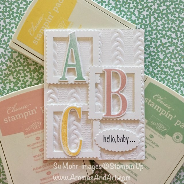By Su Mohr for kylie Bertucci's Top Ten Winners Blog Hop; Click Read It to go to my blog for details! Featuring: Large Letter Dies, Cable Knit Embossing Folder, Layering Squares Dies, Letters for You Stamp Set; #babycards #largeletters #stampinup #cableknit #babyblocks #abcs #welcometotheworld