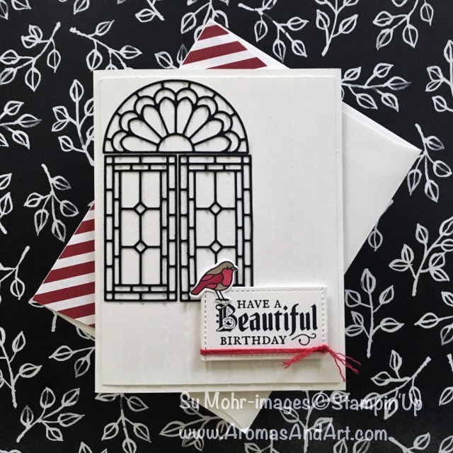 By Su Mohr for tttc047; Click read to go to my blog for details! Featuring: Stained Glass Dies, Painted Glass Stamp Set, Simple Stripes, Stitched Shapes, birthday cards, Stampin' Up! ; #birthdaycards #diy #staminedglass #paintedglass #birds