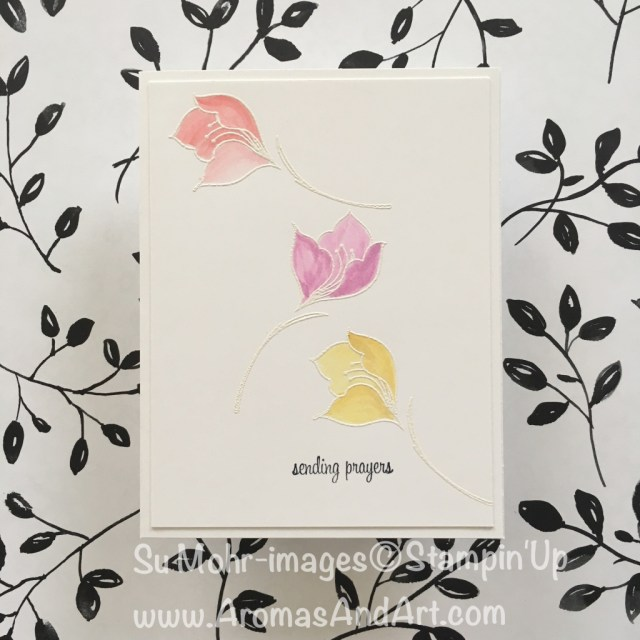 By Su Mohr for PP394 and Inspired By; Click Read to go to my blog for details! Featuring: Serene Garden; embossing powder, Aqua Painter, Itty Bitty Greetings; #watercolor #serenegarden #sendingprayers #heatembossing #ittybittygreetings #blooms #cleanandsimple