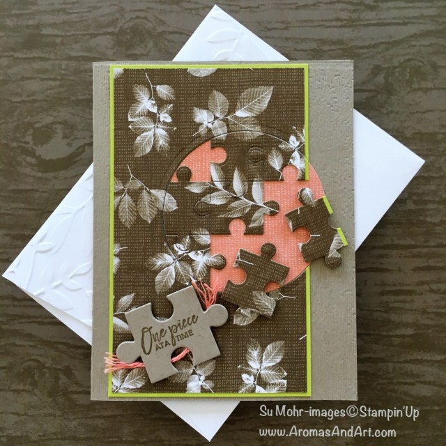 By Su Mohr for cts275 and pp397; Click READ to go to my blog for details! Featuring: Love You to Pieces, Puzzle Pieces Dies, Subtle Dynamic embossing folder, Layering Circles, Nature's Poem designer paper; #loveyoutopieces #puzzlepieces #jigsawpuzzles #handmadecards #diy #stampinup