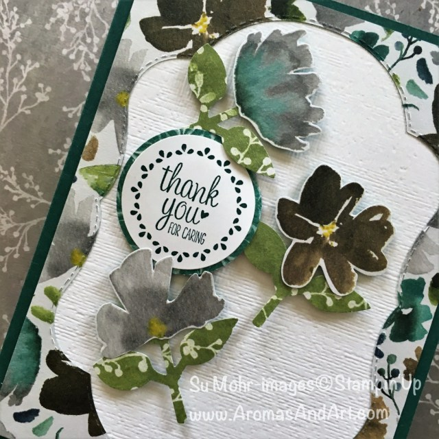 By Su Mohr for tgifc174; Click READ to go to my blog for details; Featuring: Frosted Floral DSP, Leaf Punch, Circle Punches, Stitched Seasons, Label Me Pretty; #frostedfloraldsp #stitchedseasons #subtletextured #circlepunches #leafpunch #tgifc174 #handmadecards #holidaycatalog2018